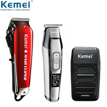 цена на Kemei Cordless Barber Professional Hair Clipper Rechargeable Trimmer Electric Hair Cutting Machine Haircut Hair Grooming Kits