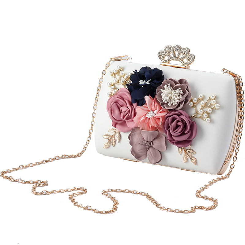 2019 new elegant bride bag pearl flower handbag dinner clutch banquet female chain party evening