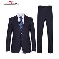 Seven7 2018 бренд Темно синие костюм Для мужчин свадебные Жених Для мужчин S Костюмы Slim Fit праздничная одежда Бизнес мужской пиджак Брюки для дево