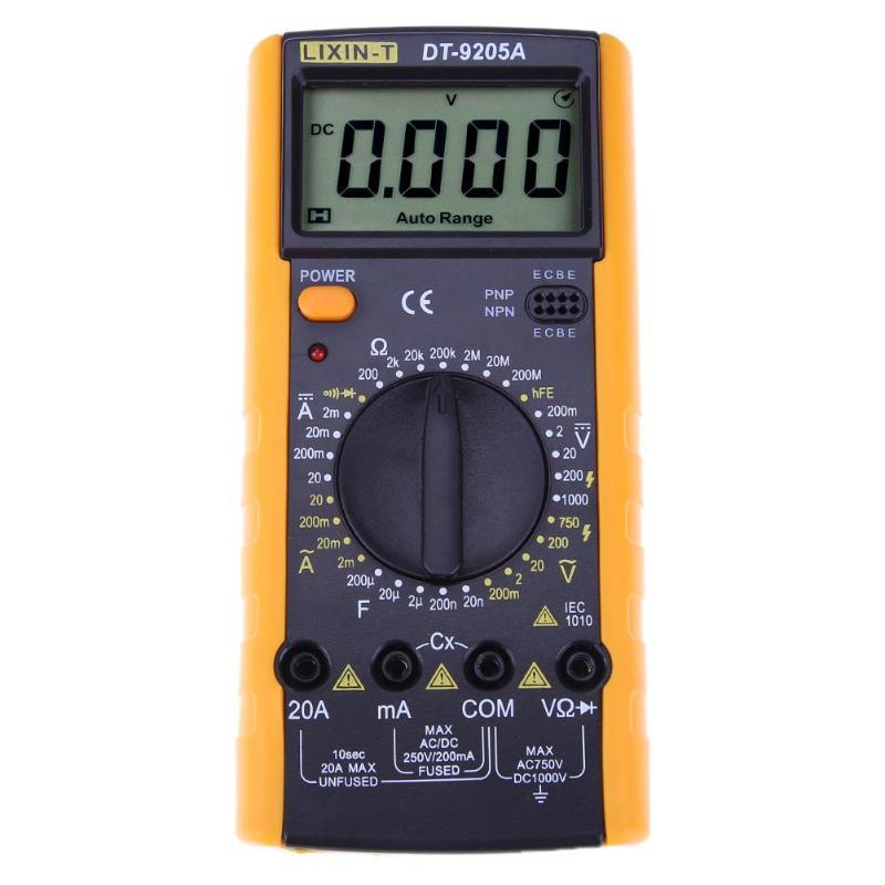 DT9205 LCD multímetro Digital voltímetro 1999 retroiluminación AC/DC amperímetro voltímetro Ohm Tester Meter corriente capacitancia Tester