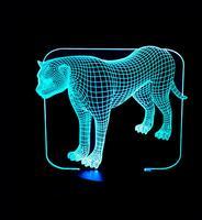 Leopard Bunte Touch Usb 3d Led Lampe Stereo Vision Tisch Lampen Für Wohnzimmer Weihnachten dekorative lichter Beleuchtung
