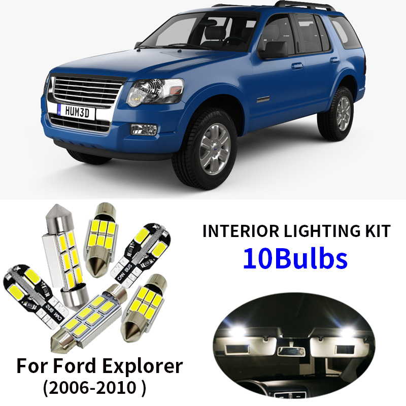 10Pcs Car Accessories Bulbs LED Light Interior Package Kit For 2006-2010 <font><b>Ford</b></font> <font><b>Explorer</b></font> Dome License Plate light <font><b>Ford</b></font>-B-12 image