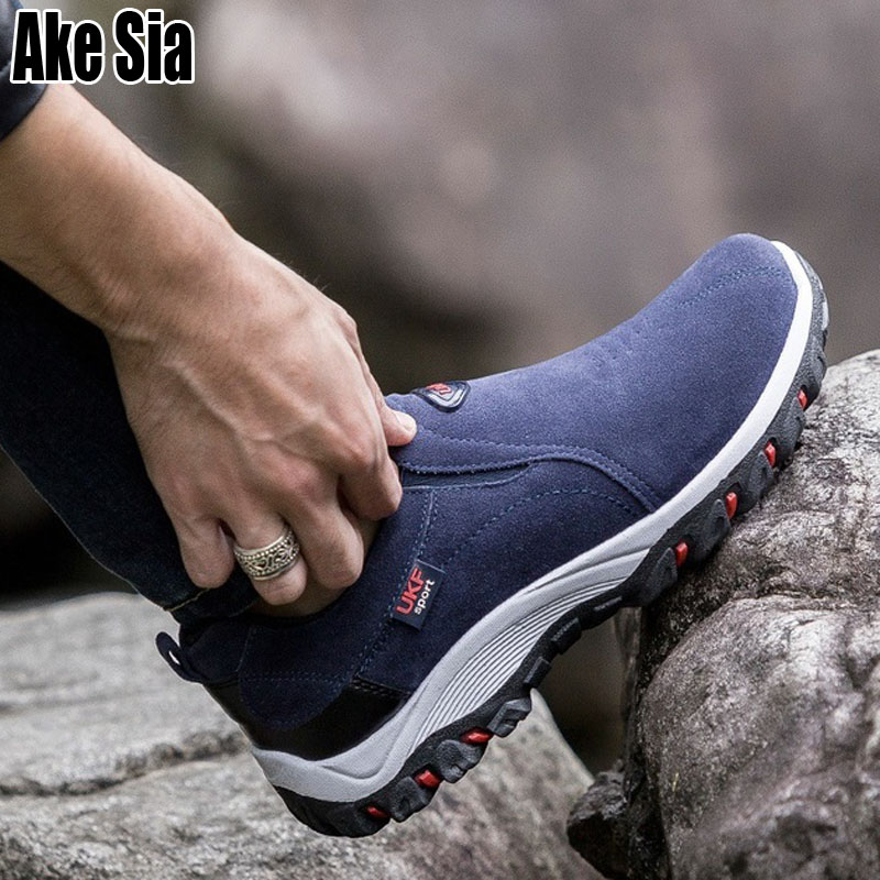 Ake Sia Male Men's Hombre Fashion   Suede     Leather   Laze-Up Walking Travels Climbing Chaussures Man Flat Footwear Casual Shoes A205