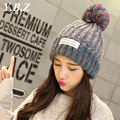 YBZ 2016 Top Quality New Fashion Lady Skullies Beanies Knit Winter Hat Cap With Fur Pom pom Ball Women Wool Knitted Fur Hats