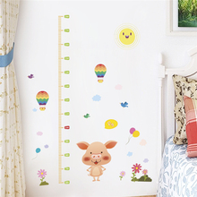 cartoon animal piggy balloon height measure wall stickers for kids rooms home decor pvc growth chart wall decals diy mural art animal height chart wall stickers diy kid room decor