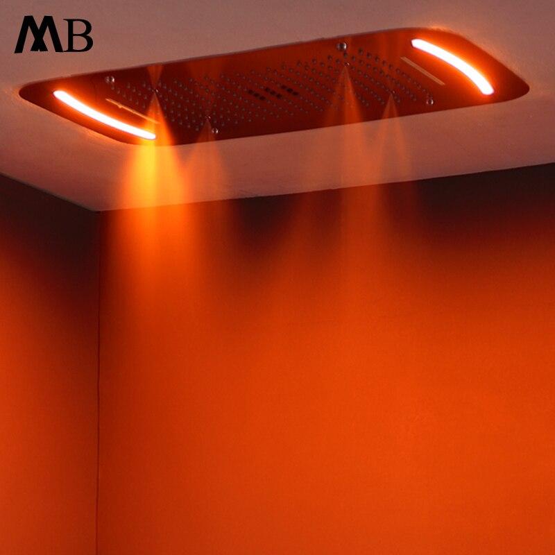 Встроенный, потолочный установлен большой ванная комната насадки для душа сенсорный светодиодный экран светодиодный свет шапочка для душа