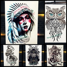 Unique Indian Tribal Women Temporary Tattoo Waterproof Feather Queen Crown Tatoo Body Art 21x15cm Fake Flash Arm Tattoo Stickers