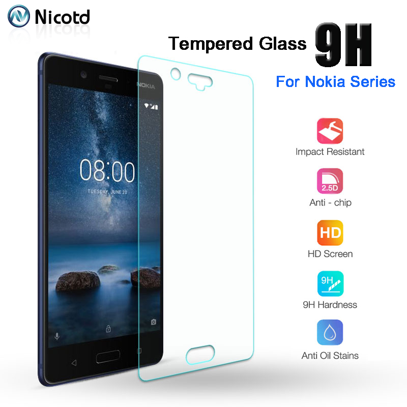 Nicotd For <font><b>Nokia</b></font> 8 7.1 6.1 3 5 Tempered Glass Transparent Film For <font><b>Nokia</b></font> 2.1 <font><b>3.1</b></font> 6 7 <font><b>Screen</b></font> <font><b>Protector</b></font> Glass <font><b>Screen</b></font> Front 9H Film image