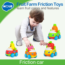 Купить с кэшбэком 4PCS/Lot Kids Early Development Toys Brinquedos Bebe Fruit Cars Friction Baby Toys Christmas Gifts HUILE TOYS 356A