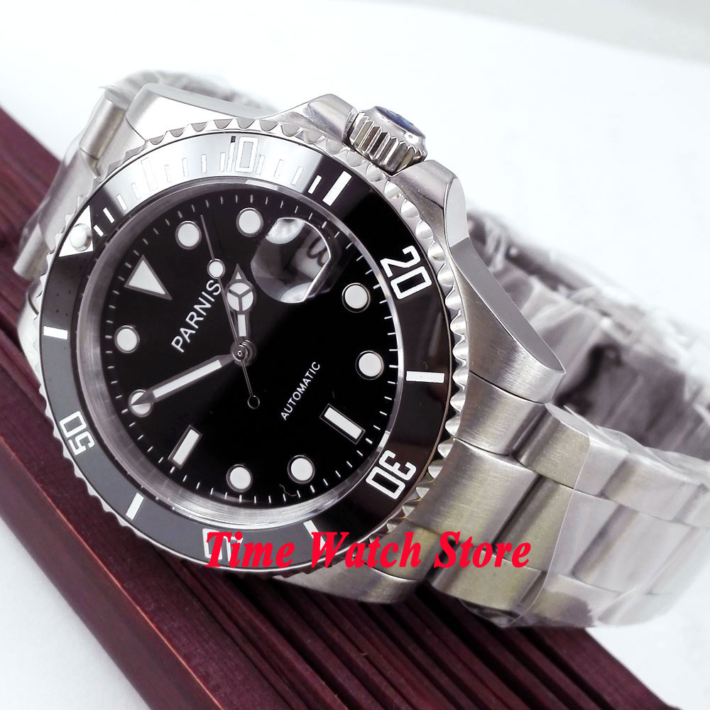 Parnis wrist watch Automatic movement 40mm SS case black dial luminous Sapphire glass ceramic bezel Men
