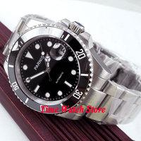 Parnis wrist watch MIYOTA Automatic movement 40mm SS case black dial luminous Sapphire glass ceramic bezel Men's watch men 143