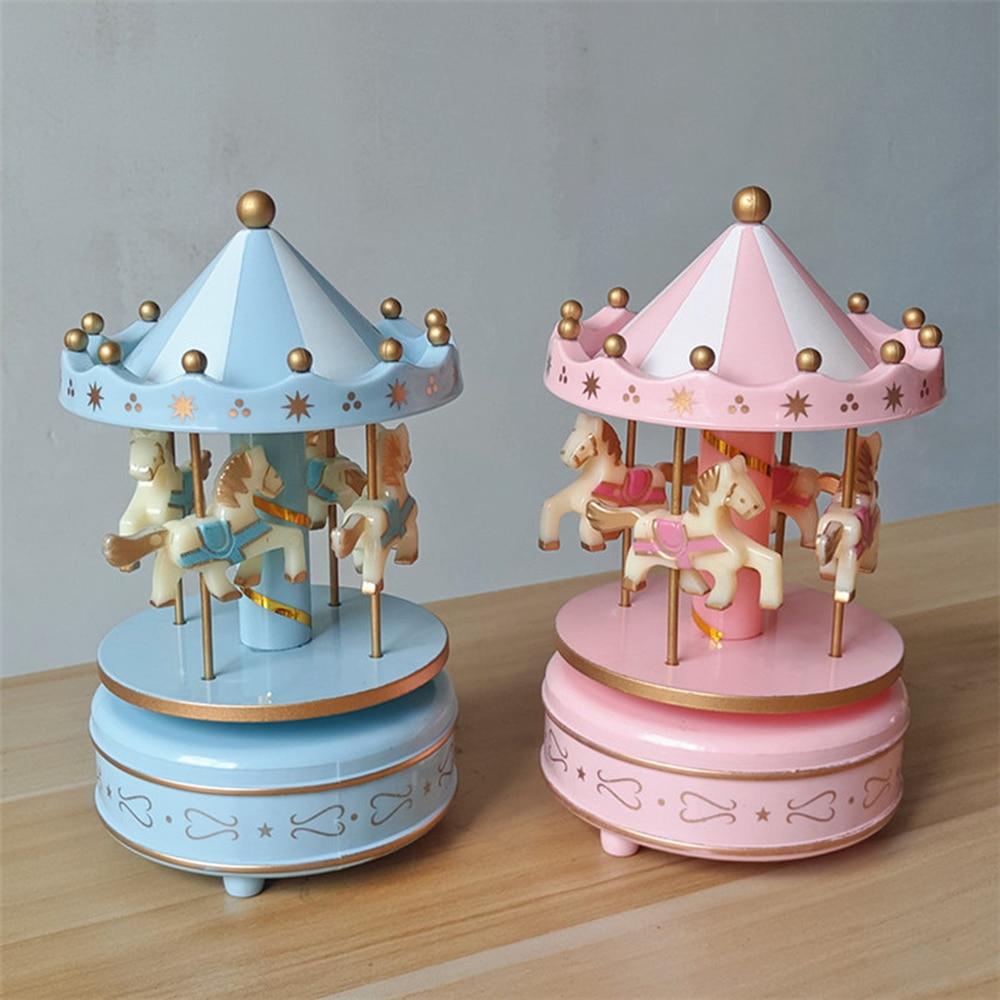 Music Box Toy Child Baby Game Box Gift Girls Jewelry Music Box Musical Carousel Horse Wooden Carousel  LU11271705