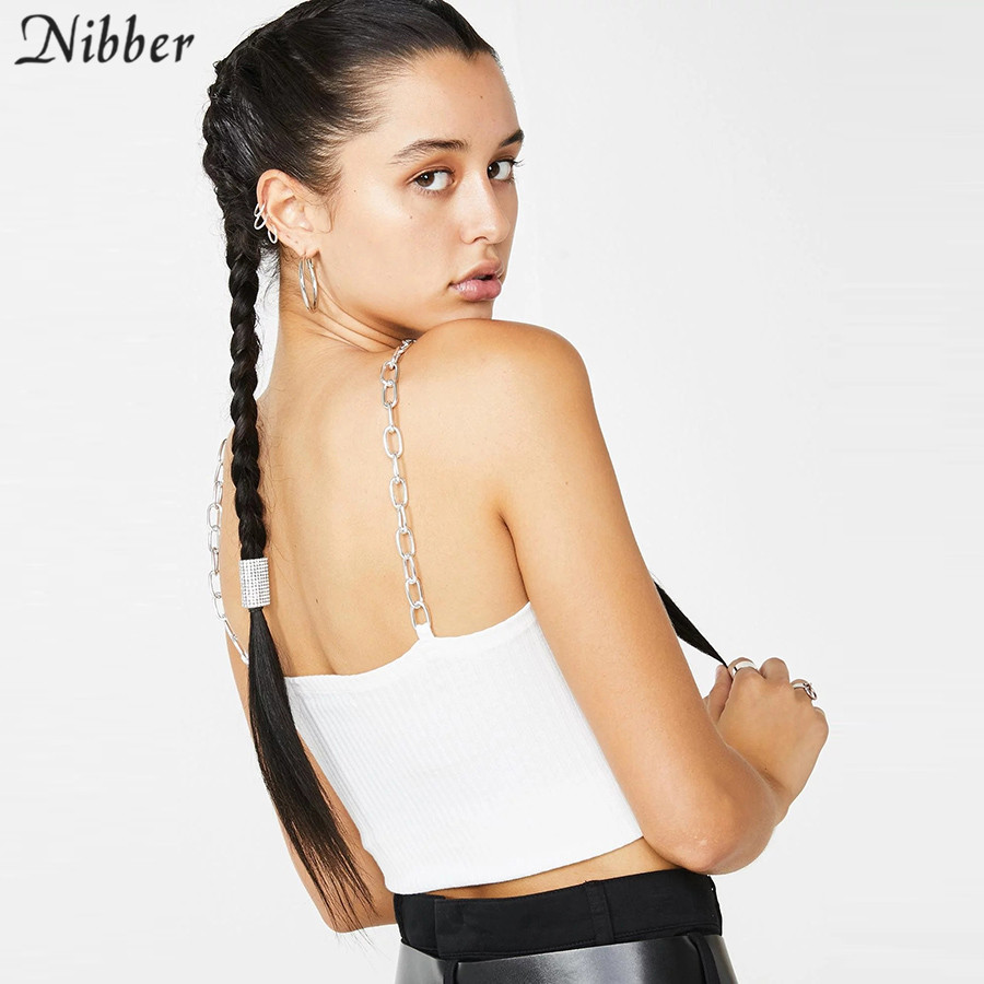 Nibber fashion Metal punk knitting crop tops womens camisole 2019 summer fashion black white Basic casual tank tops Slim mujer in Camis from Women 39 s Clothing
