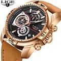 Relogio Masculino LIGE новые мужские часы Лидирующий бренд Роскошные бизнес кожа золотые часы мужские модные водонепроницаемые спортивные кварцевые...