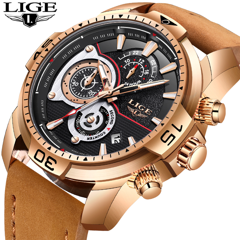 Relogio Masculino LIGE New Men Watches Top Brand Luxury Business Leather Gold Watch Men Fashion Waterproof Sport Quartz Watch 2018 new lige men watches top brand luxury leather business watch men calendar waterproof sport quartz watch relogio masculino