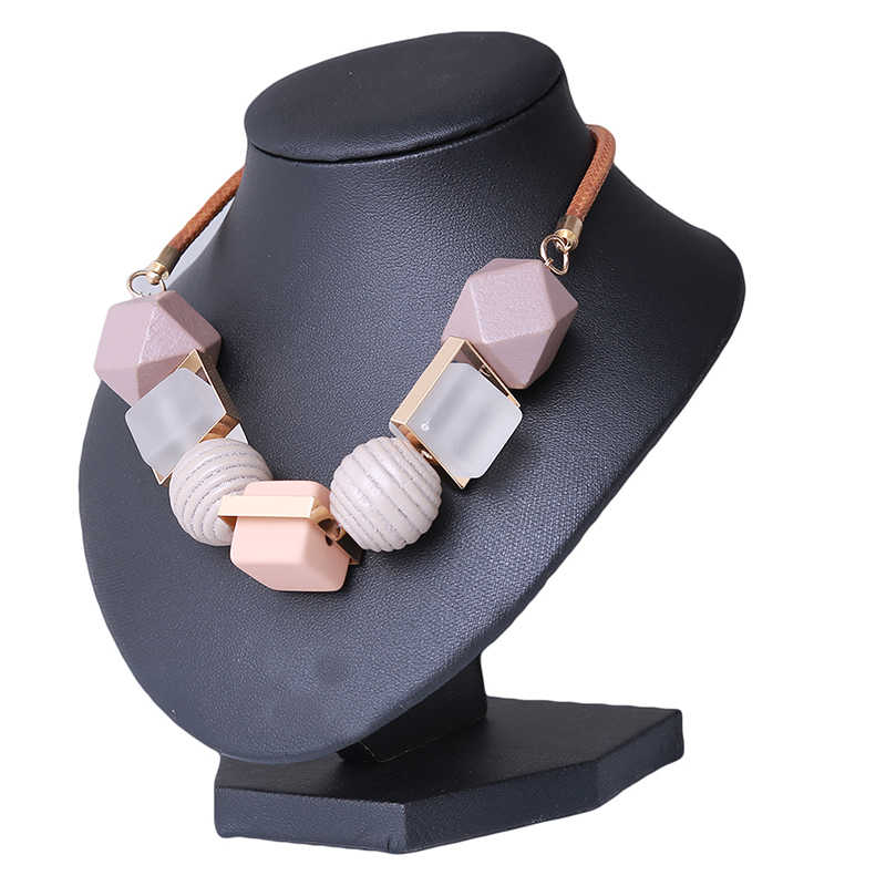 Women Necklace Statement Colored Wood Necklaces & Pendants Wood Beads Geometric Necklace For Women Jewelry