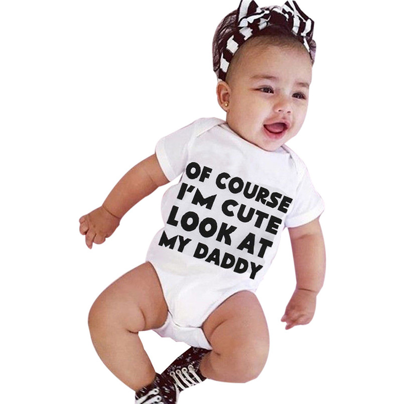 2018 Hot Sale baby rompers Newborn Infant Baby Girl Boy Short Sleeve Letter Romper Jumpsuit Outfits Clothes roupa menina S