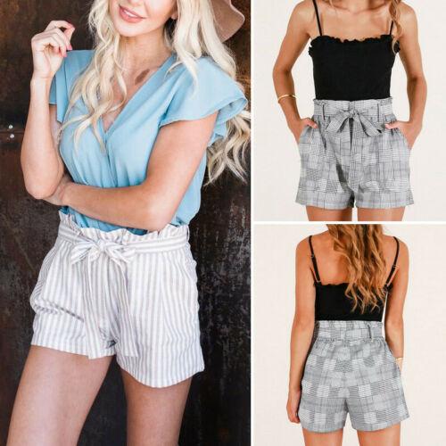 Hot Fashion Womens Shorts Sexy Ladies Striped High Waist Short Length Summer Casual Shorts Beach Holiday