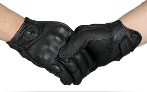 Image 5 - Motorcycle Gloves Outdoor Sports Full Finger Motorcycle Riding Protective Armor Black Short Leather Gloves gym For Men For Women