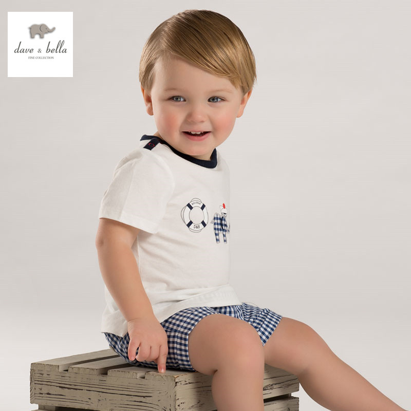 DB3536 dave bella summer baby boy printed boy cotton t shirt infant clothes toddle tees boys blue tops kids t-shirt db3814 dave bella autumn baby boys star printed t shirt kids navy tees bosy tops kids t shirts