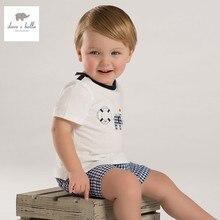 DB3536 дэйв белла летний мальчик напечатаны мальчик хлопка майка детская одежда ковылять тройники мальчиков синий топы дети футболку