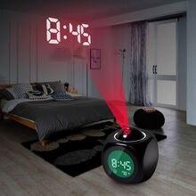 Proyector de reloj despertador con temporizador de timbre, pantalla a Color, LED, retroiluminación