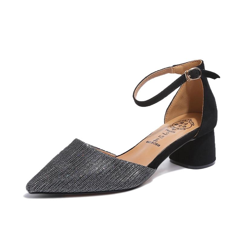 Musim Panas Gaya wanita Pergelangan Pergelangan Kaki persegi heels - Sepatu Wanita - Foto 2