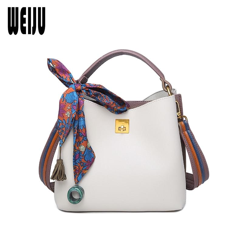 WEIJU Brand Women Handbag Solid Tote Women Colorful Straps Shoulder Bag Ladies Fashion Women Messenger Bucket Bags Composite Bag