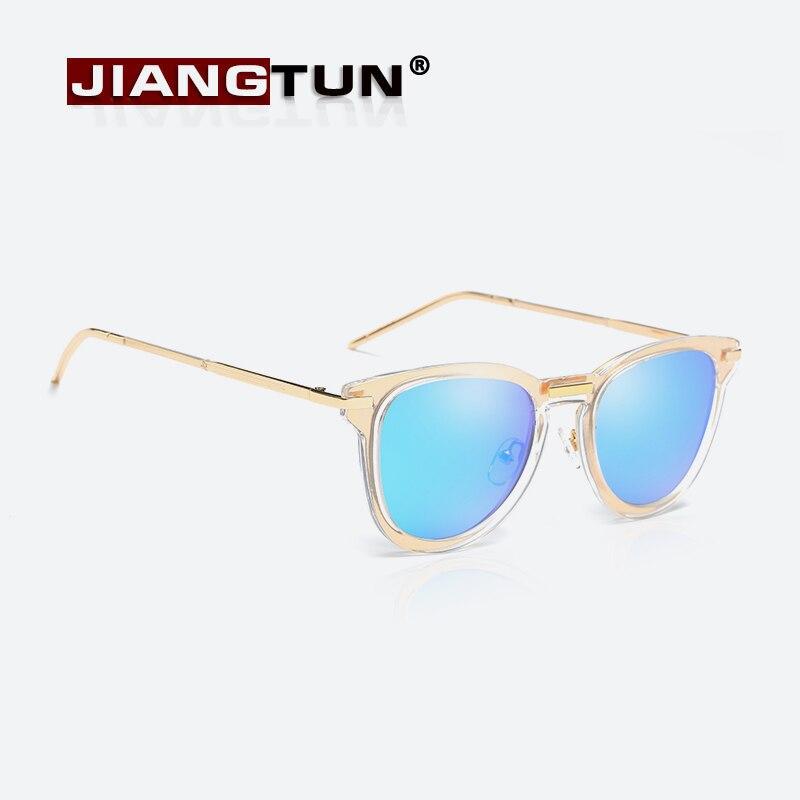 JIANGTUN Women Sunglasses Cat Eye font b Fashion b font Female Retro Reflective Mirror Sunglasses Candy