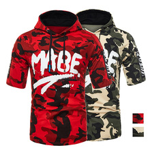 Summer Mens Half Sleeve Large Size T-shirt New Camouflage Letters Casual Hip Hop Printing Cotton Hooded M-2XL