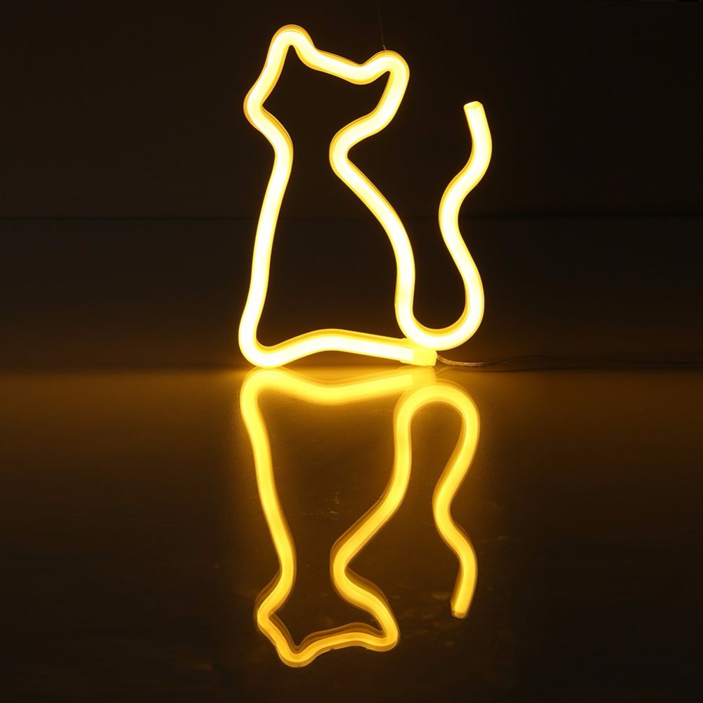 USB Battery Carton Neon Sign Neon Lamps Festival Light Novelty Cat Shape Decoration Lamp LED Night Light Home Bedroom Decor wild at heart neon sign advertise custom logo neon bulb beer glass tube handcrafted neon glass tubes recreation room lamps 17x14