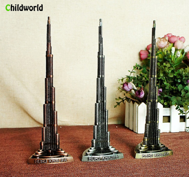 . Burj Khalifa Tower alloy office ornaments Living room home decoration craft  ornaments in Figurines   Miniatures from Home   Garden on Aliexpress com
