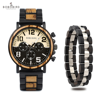 relogio masculino BOBO BIRD Wooden Stainless Steel Watch Bracelet Men Gift Set Water Resistant Chronograph Watches Drop Shipping Network Switches