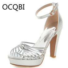 Womens High Chunky Heel Ankle Strap Sandals Shoes Evening Party Silver Platform Size33 Plus Size