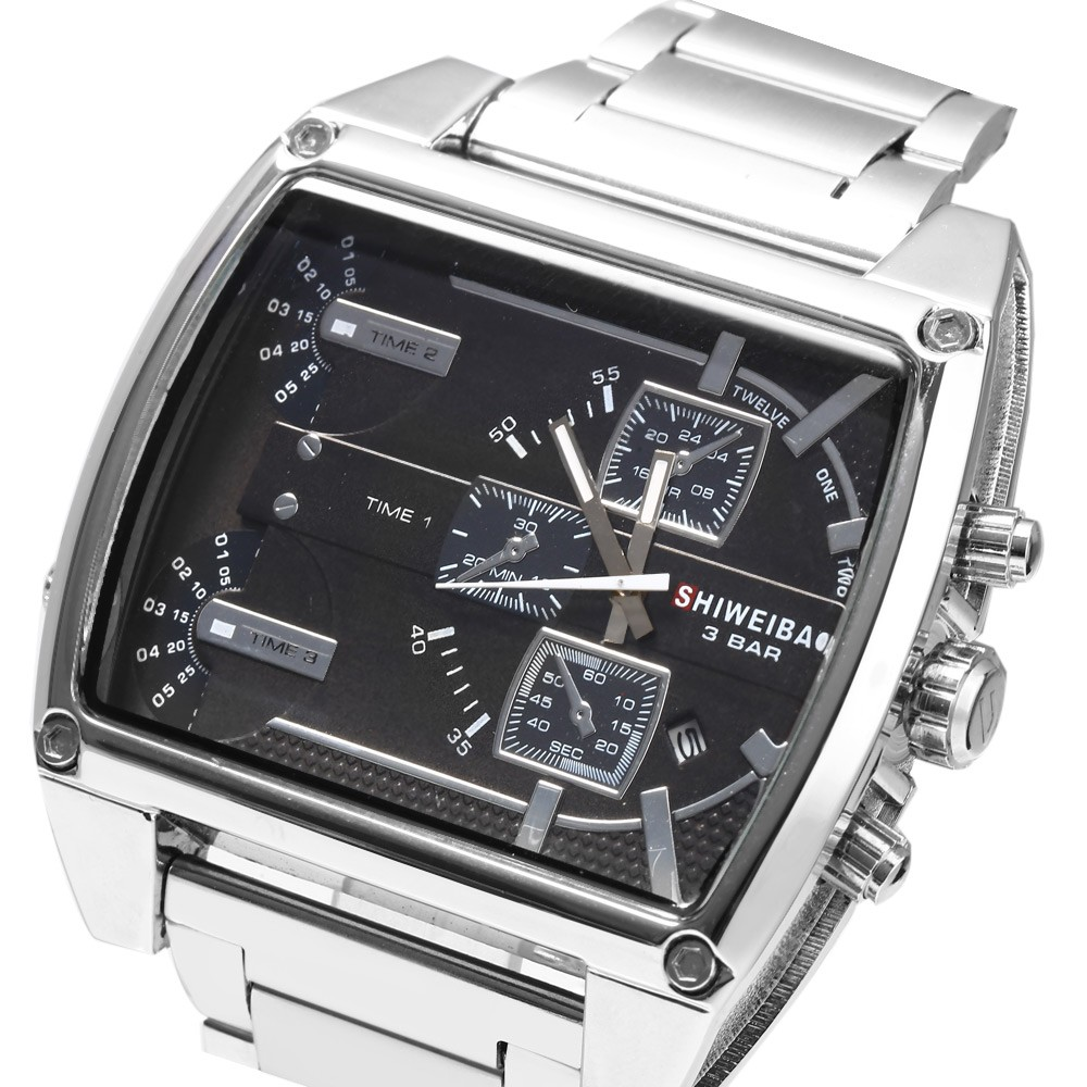 Brand Shiweibao Men Large Dial Multiple Time Zones Watch Casual Male Clock Imported Quartz Watch Waterproof 30M Relogio Masculin