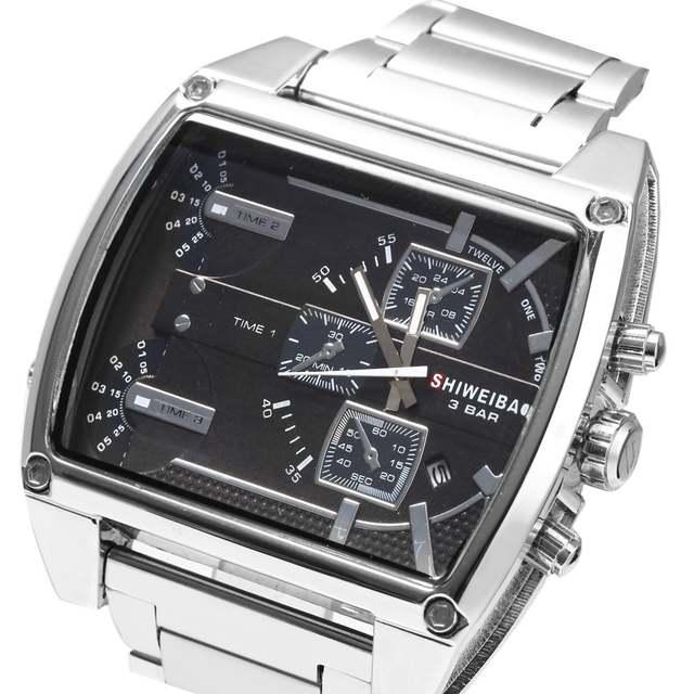 5615b7afd80 Homens Grande Mostrador do relógio de marca shiweibao Vários fusos horários  Relógio Ocasional Relógio Masculino Relógio