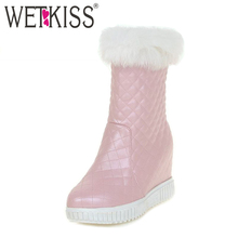 WETKISS Big Size 32-43 Slip On Plush Russia Warm Snow Boots Hidden Wedges High Heels Platform Shoes Woman Female Winter Boots