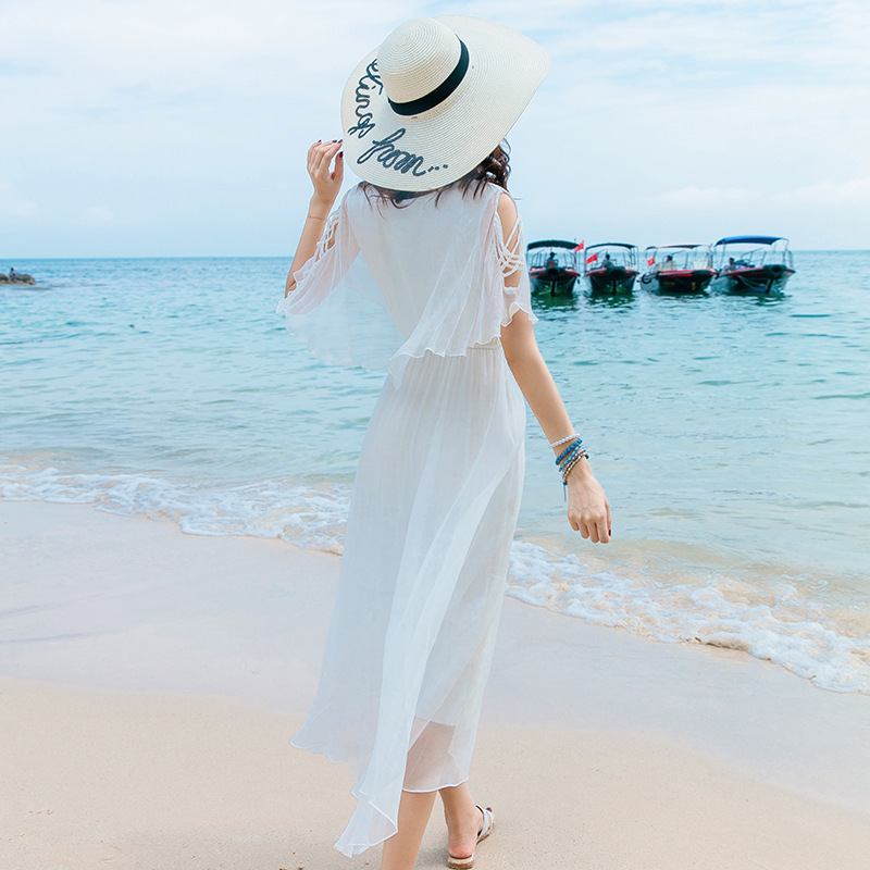 Vestido de seda 2019 primavera verano Mujer s largo casual sexy chifón vestidos bohemios de playa de talla grande Hada blanca elegante - 2
