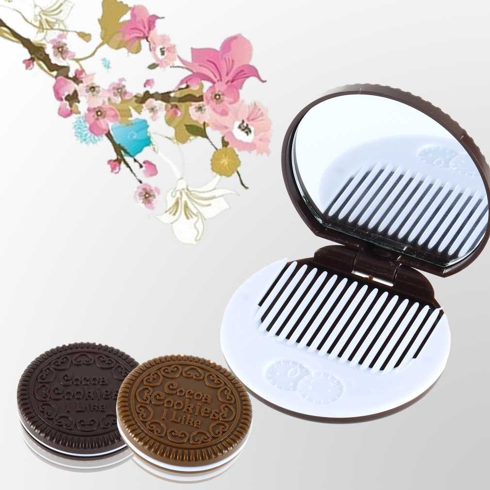 Portable Mini Cute kawaii Ladies Girls Mirror Fashionable Chocolate Cookie Shaped Design Cosmetic Mirror Makeup Chocolate Comb