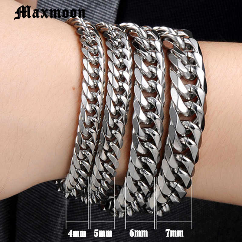 Maxmoon Miami Cuban Stainless Steel Chain Bracelets Men 7mm Flat Curb Bracelet Hip Hop Rock Sports Jewelry Customize Wholesale