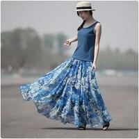 Bohemian Big Hem Long Skirt Womens Summer 2018 Top Quality Chiffon Maxi Skirt Colour Blue Elastic Waist Skirts Saia Longa Femme