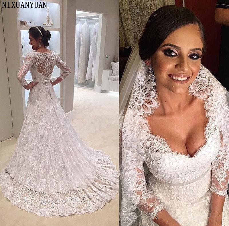 Sexy Sweetheart Mermaid Bridal Dress Long Sleeve Sash Full Lace Vintage Wedding Dresses 2019 Fashion Custom Made Wedding Gowns