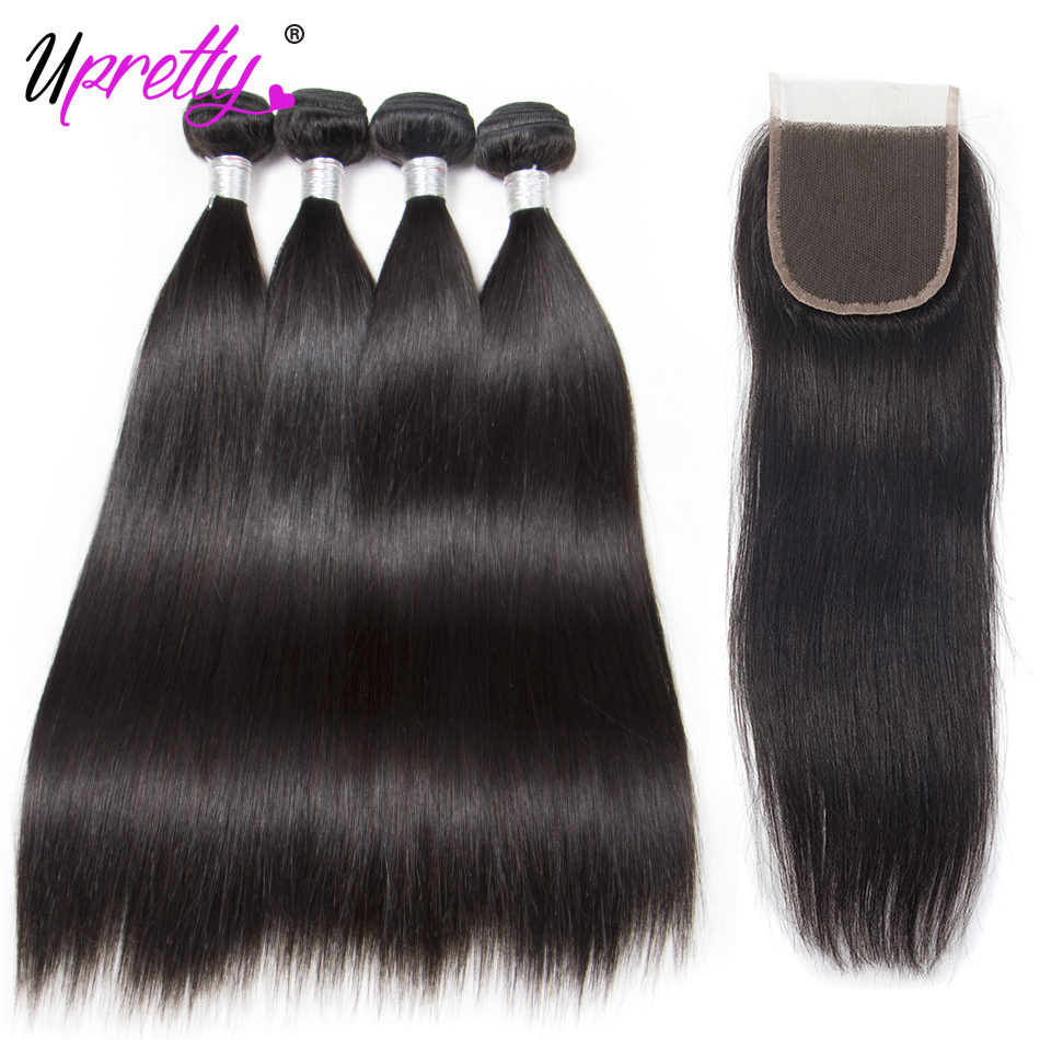 Upretty Hair Lace Closure With Bundles Malaysian Straight Hair 4 Bundles With Closure 100% Remy Human Hair Free/Middle/3 Part