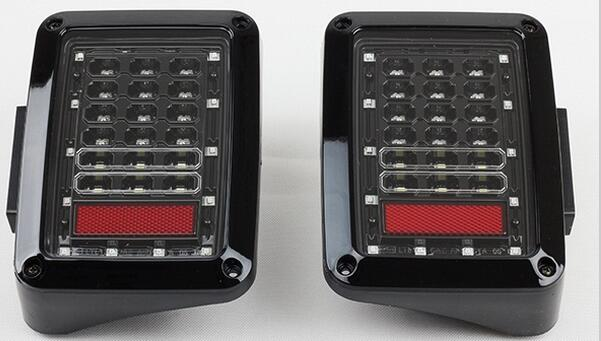 Free Shipping Black LED Tail Lights Brake Rear Signal Reverse Lamp Taillight For JK Wran ...