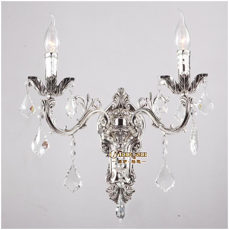 Classic golden crystal wall light fixture silver wall sconces lamp classic golden crystal wall light fixture silver wall sconces lamp crystal wall brackets light 2 lights free shipping in wall lamps from lights lighting aloadofball Gallery