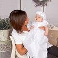2017 Новорожденный Девушки Крещение Платья Крещение Платья Детские Платья Cap Рукава Белый Детские Первое Причастие Платья 0-24 М