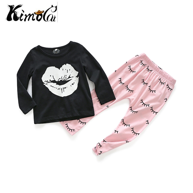 Kimocat new baby boy clothes Spring and autumn long sleeves Lips eyelashes pattern printed baby girl suits baby born