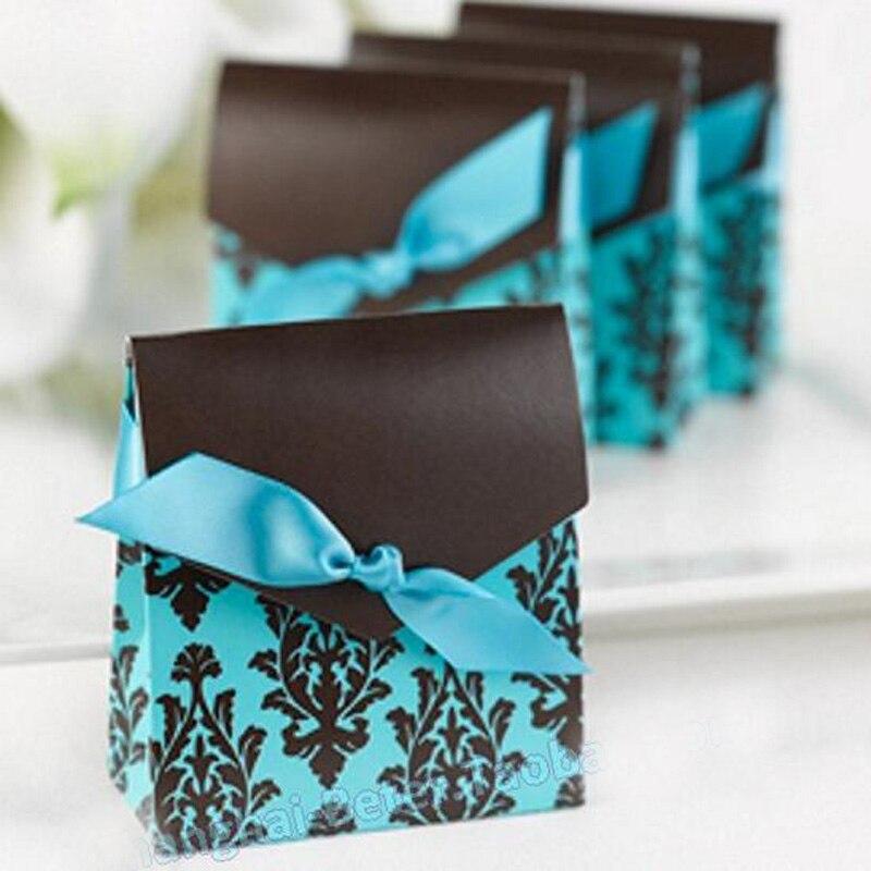 50 sztuk Niebieski Cukierki Box Ślub Sprzyja I Prezenty Torba Słodkie papier Pudełko Z Wstążką Baby Shower Dekoracje Ślubne Event Party materiałów eksploatacyjnych