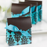 50pcs Blue Candy Box Wedding Favor And Gifts Bag Sweet Paper Box With Ribbon Baby Shower Wedding Decoration Event Party Supplies