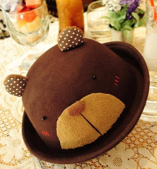 free shipping,Nifty bowler hats handmade Christmas gifts Teddy Bear wool woolen hat
